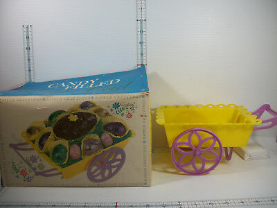 Vintage Plastic Flower Cart Easter Candy Container W Original Box HL Milkis Co