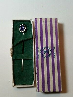 VTG Art Deco 10k Yellow White Gold Purple Stone Lapel Stick Pin Unique NY w Box