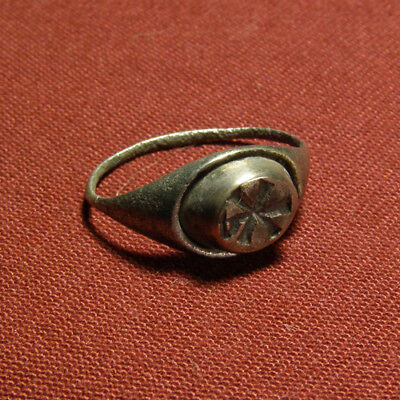 Late Roman - Early Christian Silver Seal Ring with Christogram