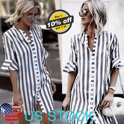 Women Button-down T-shirt Short Ruffle Sleeved Long Tops Vertical Stripe Blouses