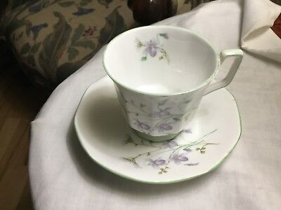 ROSINA QUEEN's Footed  Cup & Saucer Fine  Bone China - LAVENDER FLOWERS  England