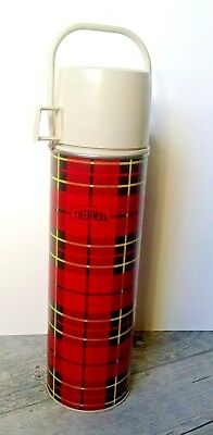 Vintage 1964 King Seeley Thermos Co. Vacuum Bottle Quart Red Plaid No. 2442