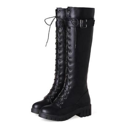 d048a57459c Womens Punk Buckle Knee High Combat Boots Lace Up tall boots Motorcycle  Shoes #