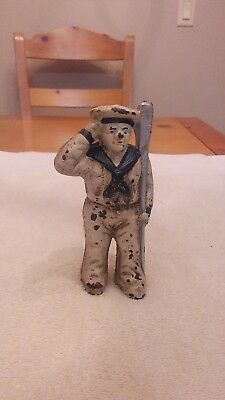 "Vintage Cast Iron Sailor Man Penny Bank 5 1/2"" Tall Hubley? Heavy 2Lbs"