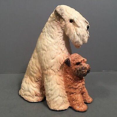 Soft Coated Wheaten Terrier Dog & Puppy Figurine Artist Initialed PDP Limited Ed