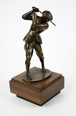 "Vintage 11"" Tall "" GOLF "" Metal Bronze Player Statue Sculpture w/ Wood Base"