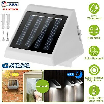 4 LED Solar Wall Light Stairs Fence Garden Yard Outdoor Security Lamp Waterproof