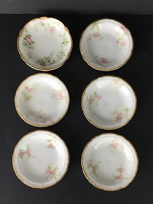 Set Of 6 Butter Pats Bowls Antique Haviland Limoges France The Princess