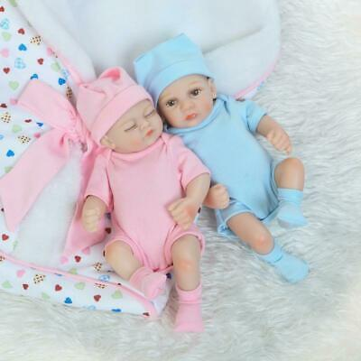 Real Life Baby Dolls Full Vinyl Silicone Doll Blue Twins Boy Girl Birthday Gifts