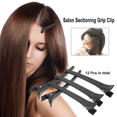 12Pcs Hair Clips Alligator Section Clamps Salon Barber Crocodile Hairpin S4Q1