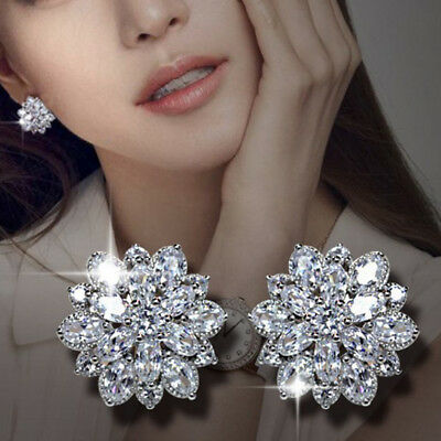 Luxury Wedding Bridal Women Cubic Zirconia Flower Stud Earrings Gift Convenient