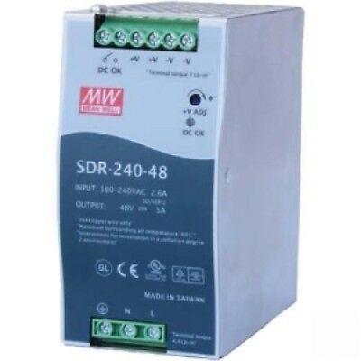 Mean Well SDR-240-48AC/DC Power Supply SingleOUT 48V 5A 240W 9-Pin