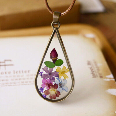 Natural Dried Colorful Flower Transparent Round Glass Pendant Necklace