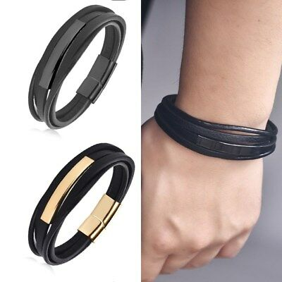 Men's Stainless Steel Black Braided Leather Bracelet Cuff Bangle Wristband