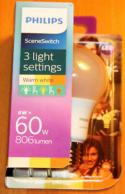 PHILIPS LED E27 Scene Switch 8W≙60W 806lm matt Warm White Glühlampe Leuchtmittel