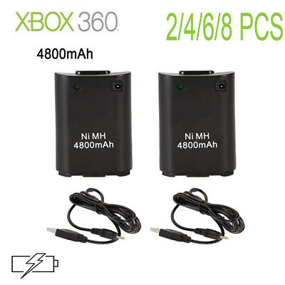 UK For XBox360 Controller 4800mAh Rechargeable Battery USB Charger Cable Pack