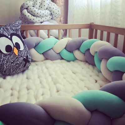 Baby Bumper Crib Bedding  Braid Pillow Pad Protector Toddler Kids Cot Room Decor
