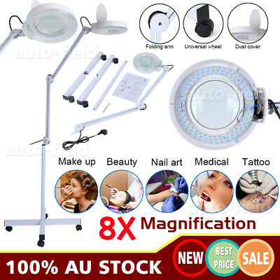 8x Magnifying Floor Lamp Glass Lens Beauty Wheeled illuminating Magnifier Light