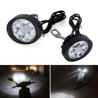Black 12V-80V Electric Motorcycle LED Headlight Driving Fog Spot Work Light Lamp