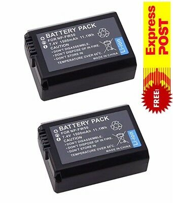 2PC Decoded NP-FW50 NPFW50 Battery For Sony Alpha 7 A7 A7S A3000 A5000 A6000