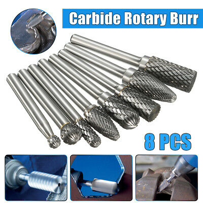 8/set 1/4''Shank Groove Double Cut Carbide Rotary Burr Set Bur File Power Tool