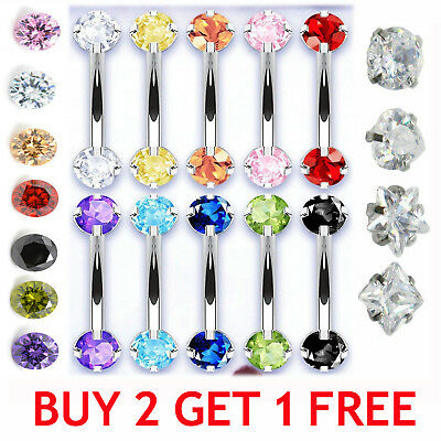 SPARKLE Crystal Mirco Barbell Small Belly Bar Rook Piercing Eyebrow Ring Genital
