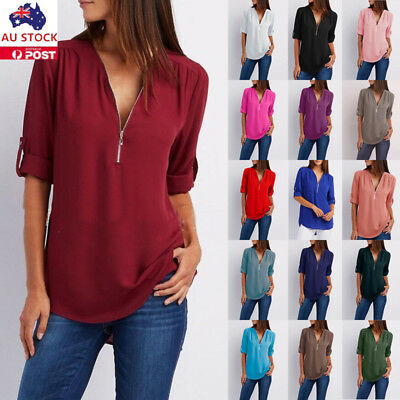 Plus Size Women V Neck Chiffon Shirt Long Sleeve Loose Blouse Ladies Tunic Tops