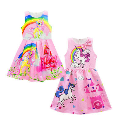 Unicorn Rainbow Girls Dress Sleeveless Fancy Birthday Dresses Size 2-8 Years
