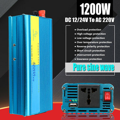 1200W Pure Sine Wave Inverter DC 12V/24V to AC 220-240V Converter For Caravan