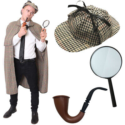 Sherlock Holmes Costume Cape Hat Detective World Book Day Fancy Dress Character