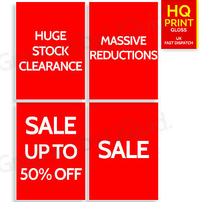 Window Sale,Stock Clearance, ANY % off Advertising Signs Posters | A4 A3 A2 A1 |