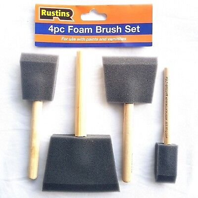 Rustins Foam Brush 4 Set Wooden Handle Oil Varnish Wood Stain Paint Applicator