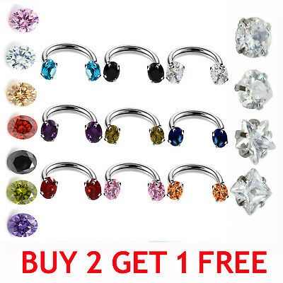 SPARKLE Crystal Horseshoe Piercing Silver Septum Hoop Cartilage Earring Lip Ring
