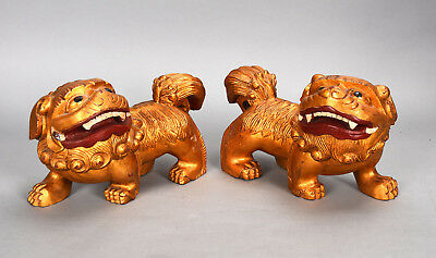 Pair Vintage Chinese Carved Wood Golden Foo Dogs Lions Standing Pose Wide Grins