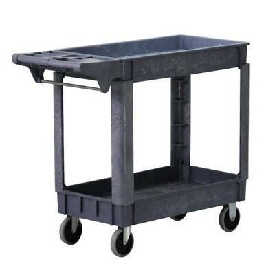 2 Tier Service Storage Tray Rolling Cart Metal Towel Bars 500 Pounds Capacity