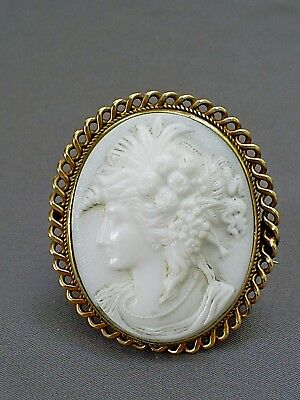 Lovely Antique Victorian Moulded Milk Glass Brass Framed Cameo Brooch/flora