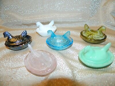 6 Different Chicken Hen On Nest Depression Style & Slag Glass Salt Cellar Dishes
