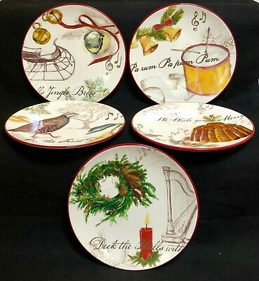 Williams Sonoma Christmas Plates.Williams Sonoma Christmas Carols 5 Salad Plates Excellent Condition