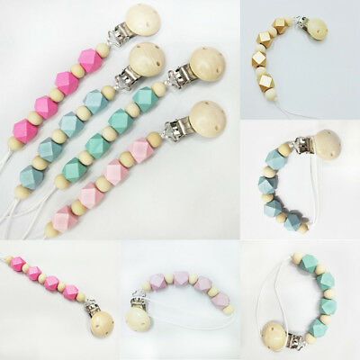 Wooden Bead Dummy Clip Soother Holder Clips Pacifier Chains Baby Teething Toy