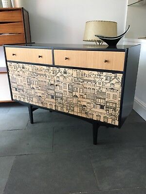 retro vintage 1950s 60s chest drawers sideboard console credenza Fornasetti era