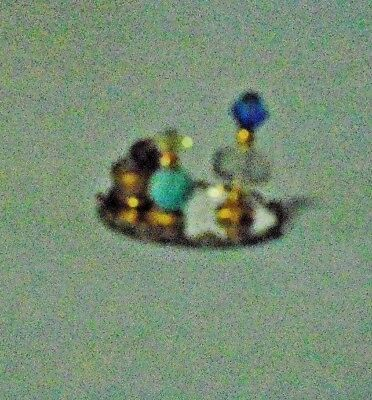 Dollhouse Miniature Vanity Dresser Tray Set With Perfumes, Etc. In Blue