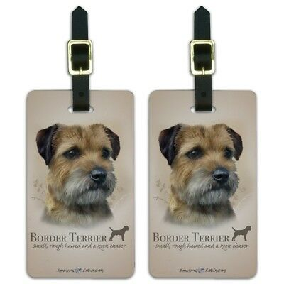 Border Terrier Dog Breed Luggage ID Tags Suitcase Carry-On Cards - Set of 2