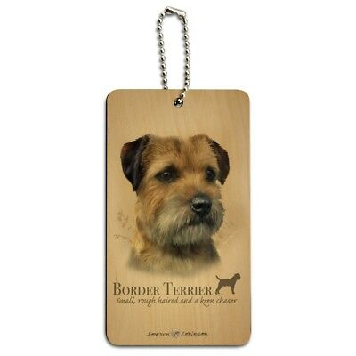 Border Terrier Dog Breed Wood Luggage Card Suitcase Carry-On ID Tag