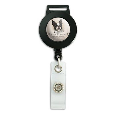 Boston Terrier Dog Breed Lanyard Retractable Reel Badge ID Card Holder