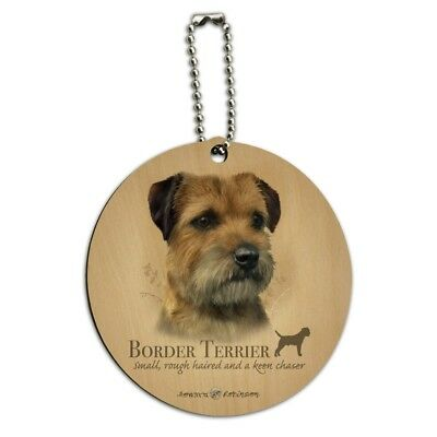 Border Terrier Dog Breed Round Wood Luggage Card Suitcase Carry-On ID Tag