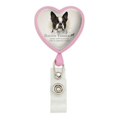 Boston Terrier Dog Breed Heart Lanyard Retractable Reel Badge ID Card Holder