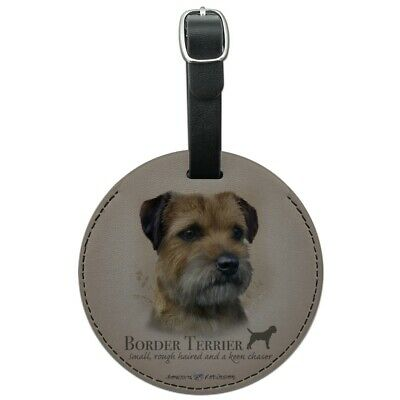 Border Terrier Dog Breed Round Leather Luggage Card Suitcase Carry-On ID Tag