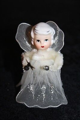 "Vintage Lefton Christmas White Angel Ornament 3""H Mesh Wings Pipe cleaner Japan"