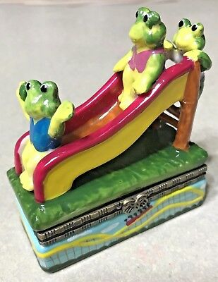 Frogs on a Slide Colorful Enameled Hinged Trinket Jewelry Box