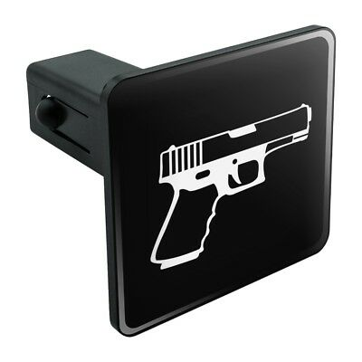 Gun Handgun White on Black  Tow Trailer Hitch Cover Plug Insert